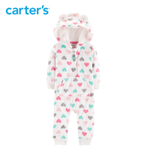 Carters heart hooded fleece jumpsuit baby girls rompers cute ears hooded long sleeve autumn winter baby