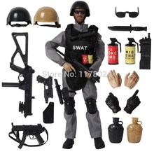 16PCS SET Special Force Soldier Military Action Figure Dolls SWAT Soldier With Rifle Accessories Super System