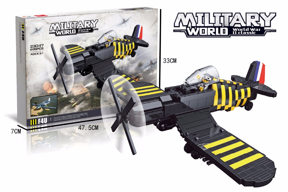 Classic military ww2 F4U Corsair fighter model building block world war america air forces figures bricks toys collection victorian america and the civil war