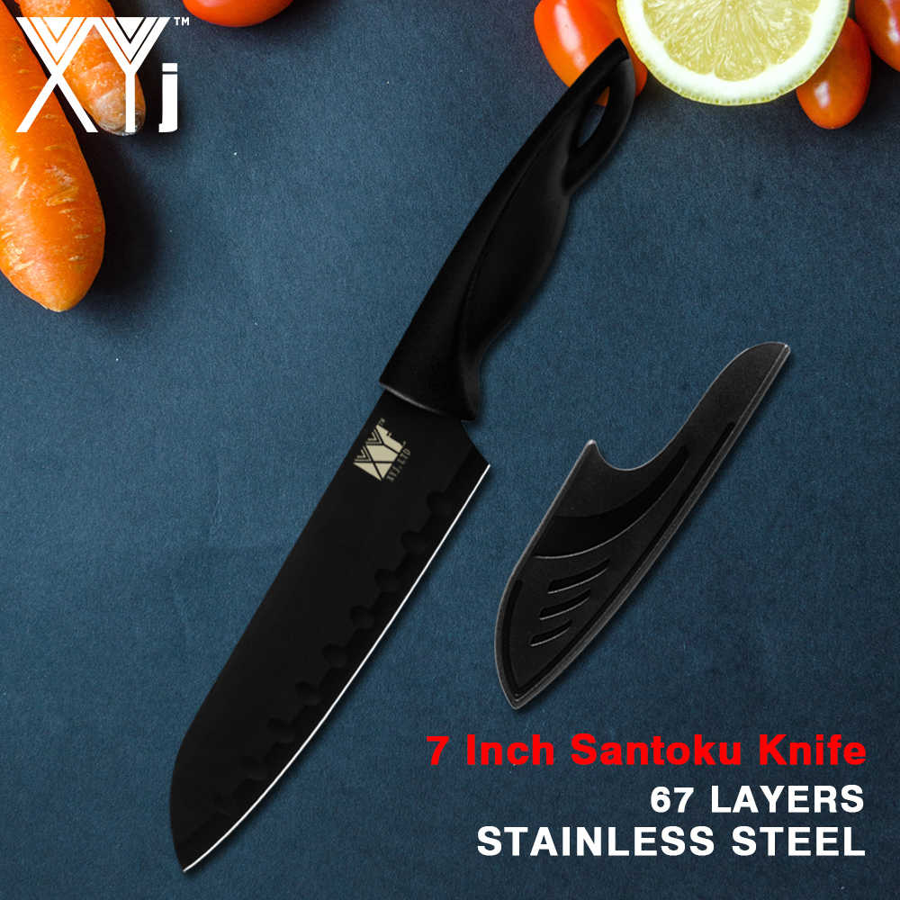XYj Kitchen Knife with Cover Stainless Steel Knives Japanese Chef Santoku Cleaver Meat Knife Black Utility Blade Cooking Cutter