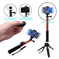 Bluetooth Wireless Camera Shutter X iaomi yi Self Stick Tripod Monopod+Clip Phone holder For Samsung Note 8 For iPhone 8 5 6 7 X