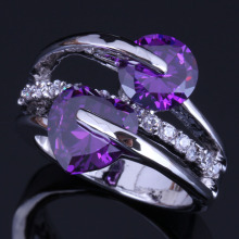 Gracious Heart Shaped Round Purple Cubic Zirconia White CZ 925 Sterling Silver Ring For Women V0464