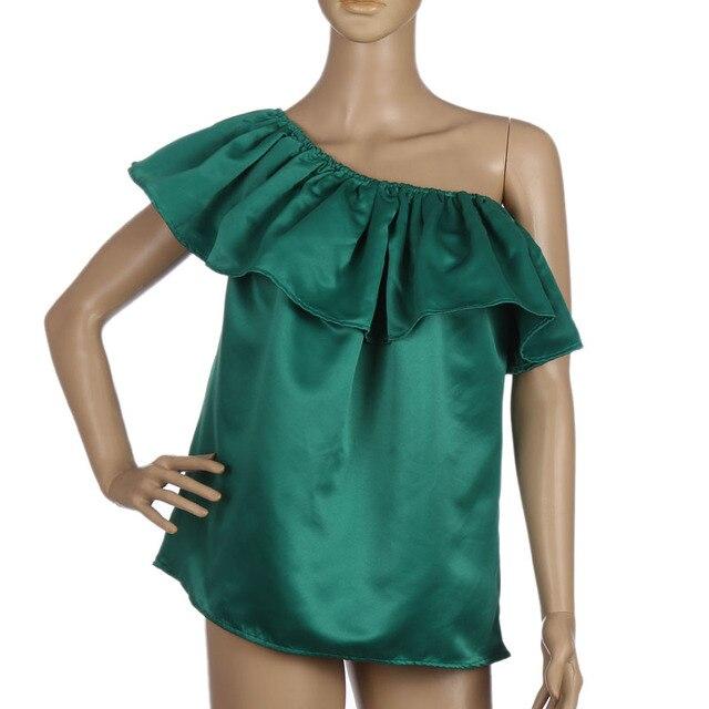 Women Sexy Shirts Slash Neck Ruffles Tops Tees Off Shoulder Beach Summer Ladies Blouses Shirt Tube Top Vetement Femme Plus Size