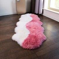 Unique design Pink 2P 60*180cm NewZealand sheepskin rug for bedside carpet light purple sheep fur carpet