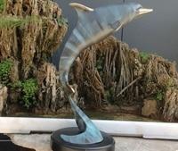 Art Deco Sculpture Blue Dolphin Leap Bronze Statue