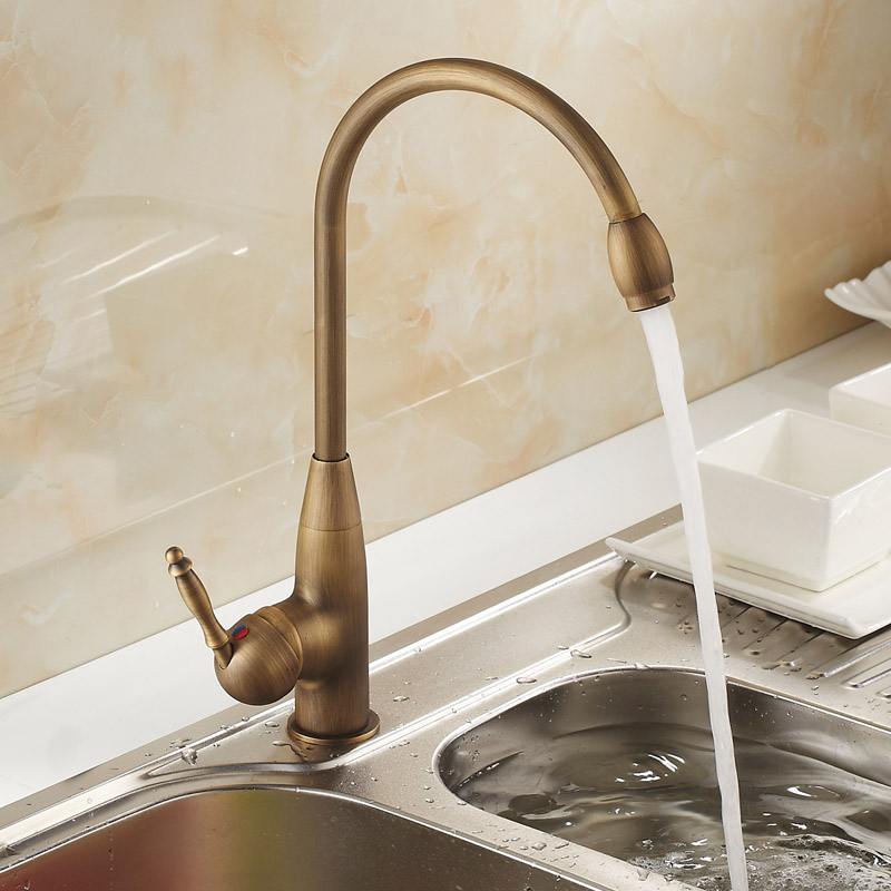antique kitchen faucet, hot and cold water tank faucet, European style retro rotary dish washing dish basin faucet