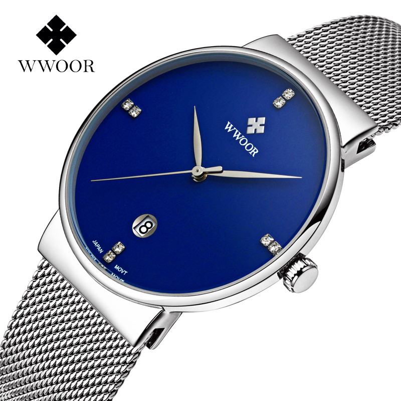 2017 Top Brand WWOOR Watches Men Stainless Steel Mesh Band Fashion Casual Analog Quartz Watch Ultra Thin Blue Dial Clock Male chic high waisted pocket design broken hole denim skirt for women