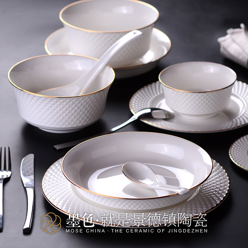 The black suit Jingdezhen dishes bone china tableware 50 head household ceramic dishes and dishes simple