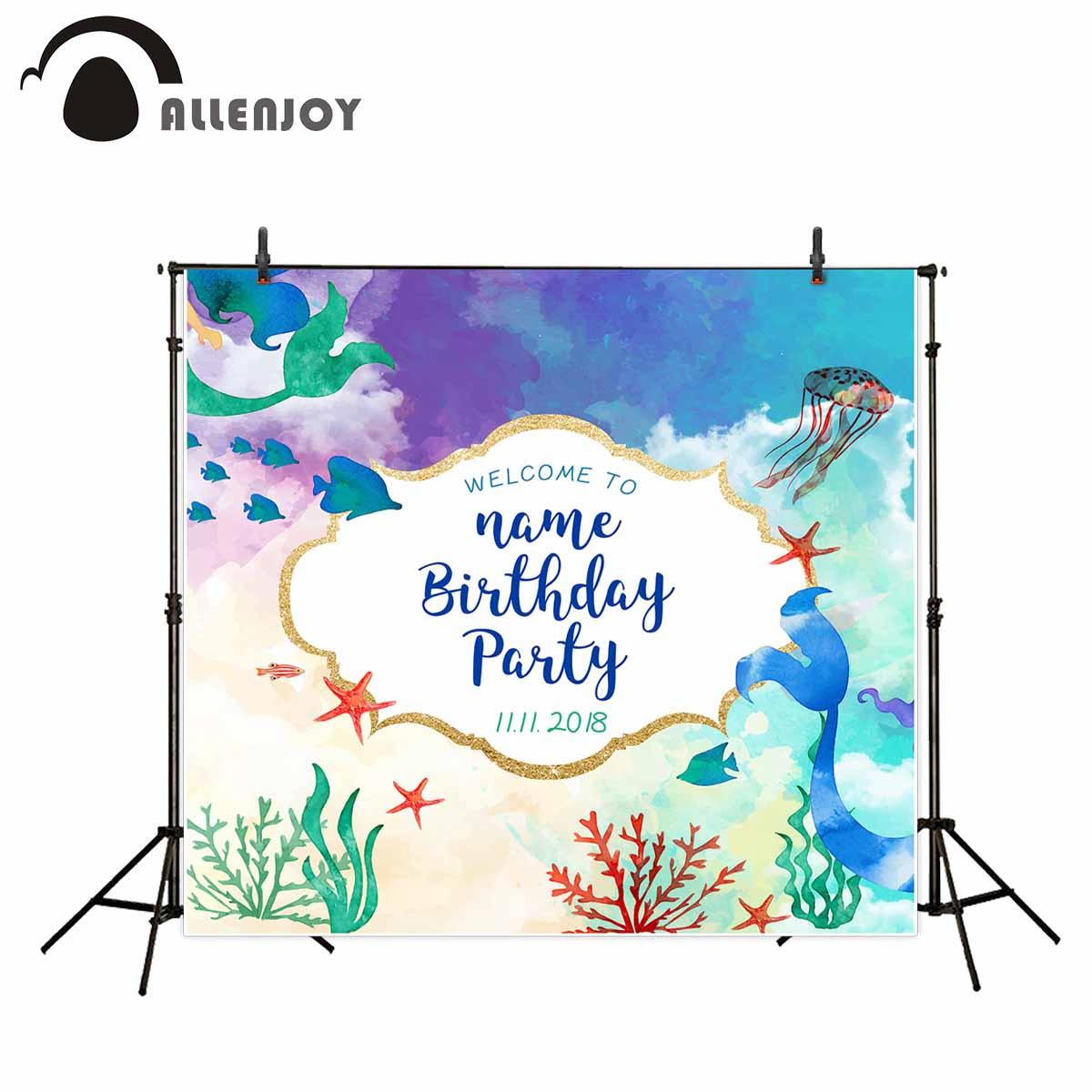 Allenjoy mermaid photo background wonderland children birthday party background sea theme background jellyfish photocall