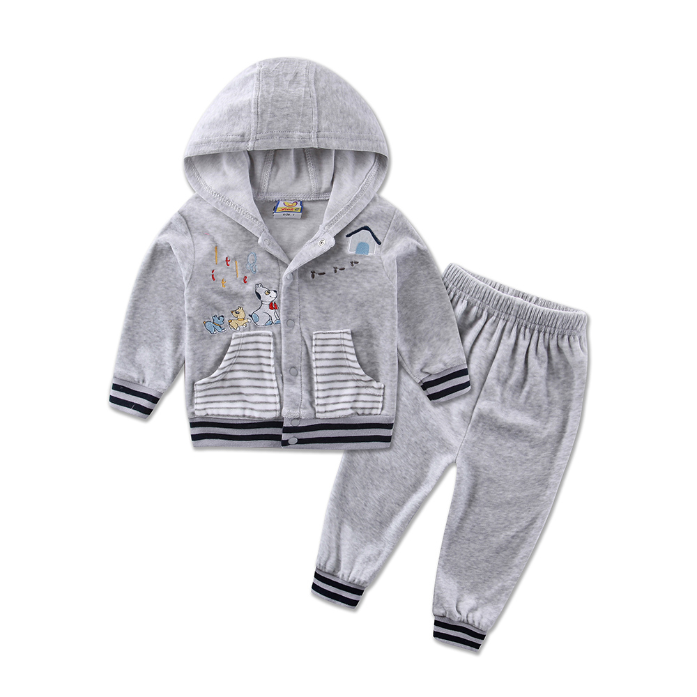 2017 Autumn Velour Hoodie Long Sleeve Baby Boys Clothing Sets 2pcs/set Jacket+Pants Girls Clothes Outfits 2017 new spring autumn baby set velvet hello kitty cartoon print hoodie pant twinset long sleeve velour baby clothing sets