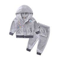 2016 Autumn Velour Hoodie Long Sleeve Baby Boys Clothing Sets 2pcs Set Jacket Pants Girls Clothes