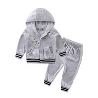 2016 Autumn Velour Hoodie Long Sleeve Baby Boys Clothing Sets 2pcs Set Jacket Pants Girls Clothes