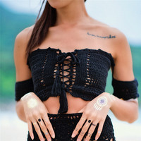 Sexy Lace Up Crochet Beach Top Off Shoulder Summer Women Crop Tops White Lace Crochet Tops