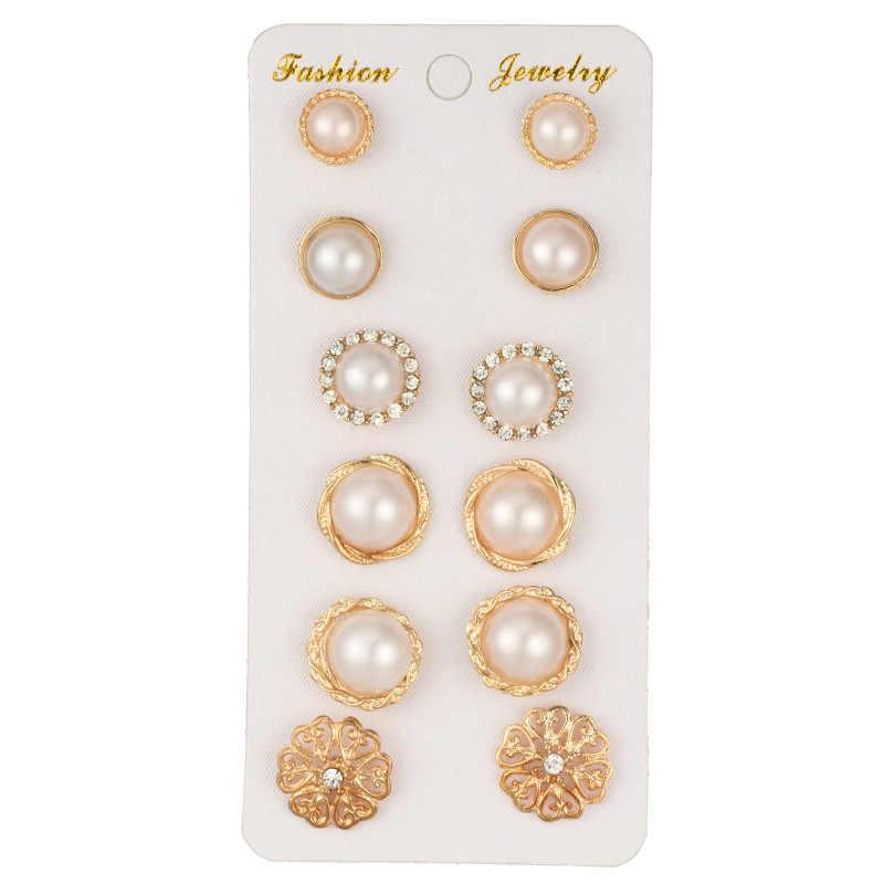 Hot Sale Kristal Bulat Hadiah Emas Wanita Retro Pesta Mutiara Indah Stud Anting-Anting Anggun Fashion Perhiasan 6 Pasang/Set