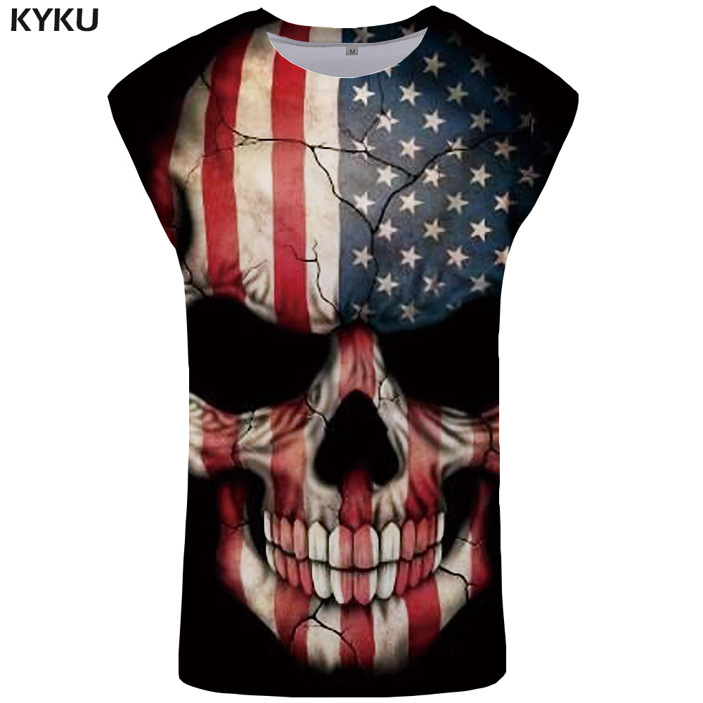 KYKU Skull   Tank     Top   Men American Ftness Clothing Rock Mens Bodybuilding Punk Singlet Vest Stringer Sleeveless Shirt 2018