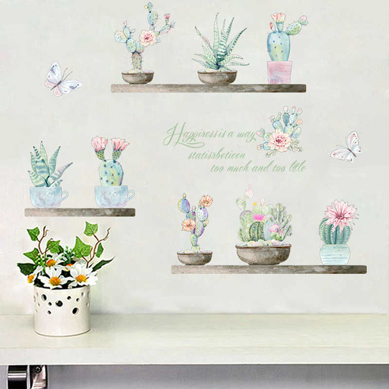 % Garden Potted Plants Cactus Flower butterfly Wall Stickers Living Room Home Decoration PVC Pastoral Mural Decor Wall Art Decal