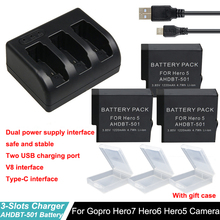 AHDBT-501 hero7 battery For Gopro Hero 5 Hero 6  + Go pro Hero5  3-Way with Type-C Port Charger For GoPro Hero 7 Hero5 6 Camera 3pc for gopro 2018 gopro hero 5 battery 1600mah gopro 6 7 battery usb battery charger type c for gopro hero5 black accessories page 3 page 6 page 9 page 10