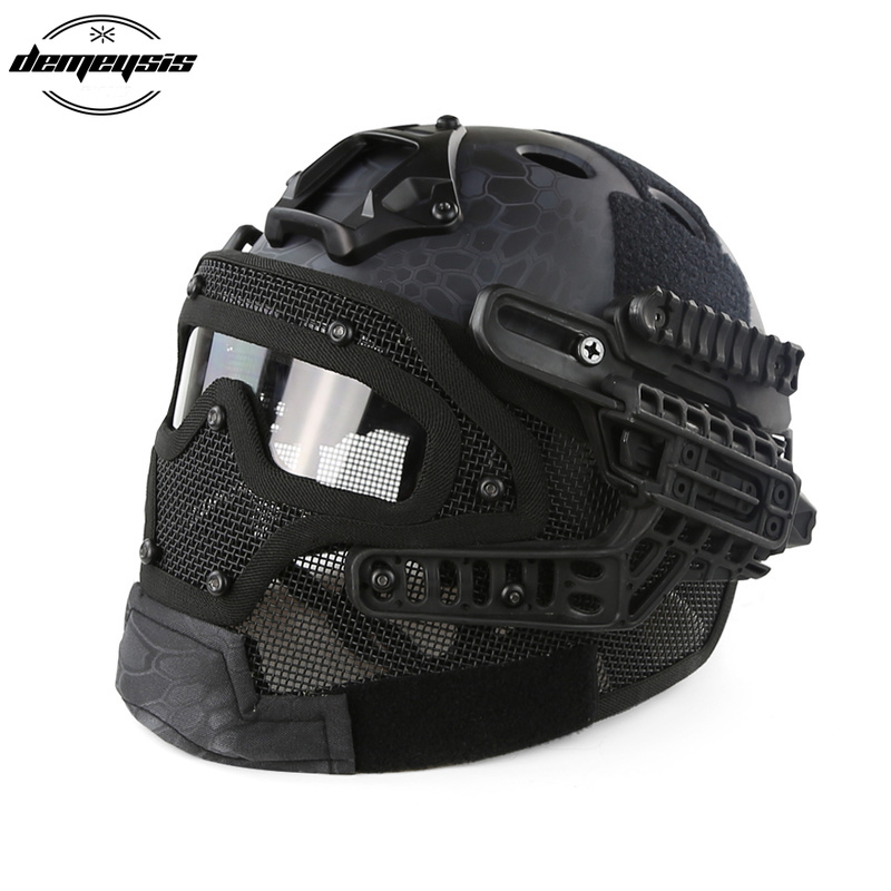 green tactical helmet with mask airsoft helmet paintball fullface protective face mask helmet for sports cs military helmet Tactical Helmet with Mask Airsoft Helmet Paintball Fullface Protective Face Mask Helmet for Sports CS Military Helmet