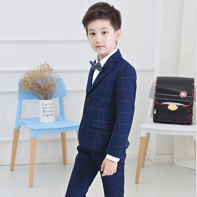 Online Shop 2017 New fashion lattice Children suit costume for boy ...