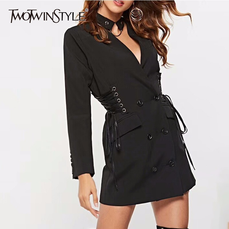 TWOTWINSTYLE Lace Up High Waist Blazer Dress Women Long Sleeve Choker V Neck Mini Suit Dresses