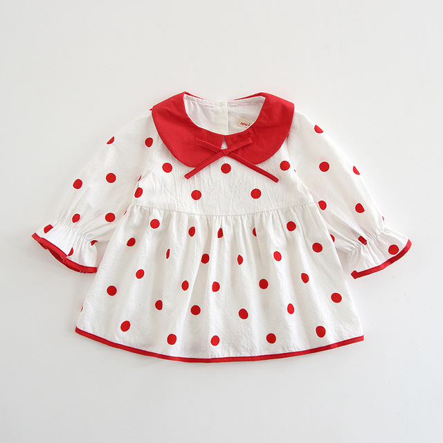 c191475e0 Newborn Baby Dress Peter Pan Collar Dots Dresses for Girls Clothing ...