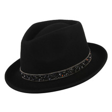 2c8385a881d60 gemvie Men Cap Unisex Classical Fedoras 100% Wool Felt For Male Women Rhinestone  Belt