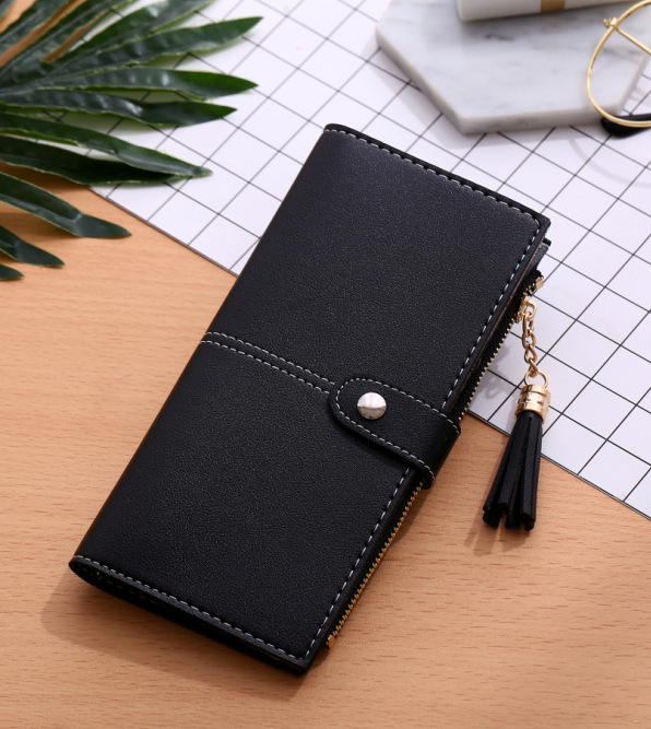 New Fashion Pu Leather Womens Wallets and Purses Long Tassel
