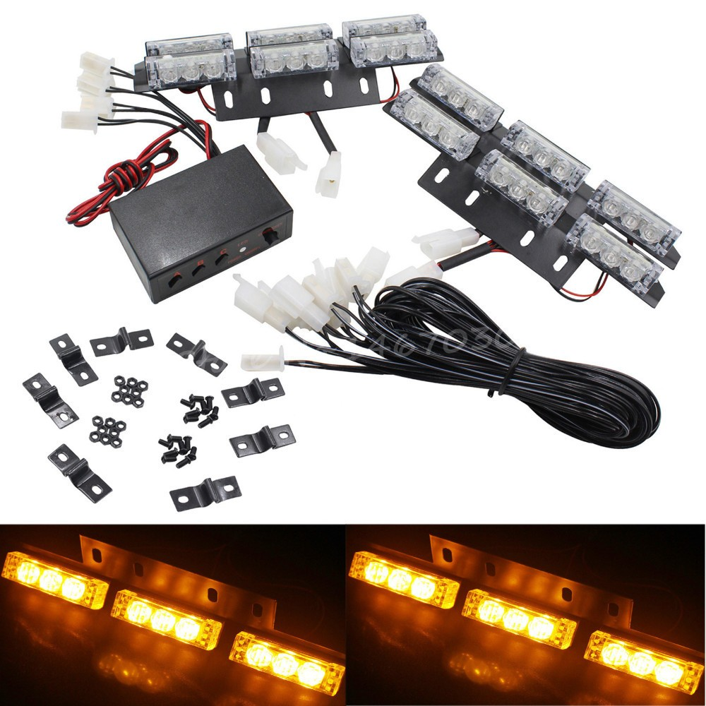 03023 DC 12V 4X9LED 36 LED Universal Car Vehicle Auto Strobe Flash Bars Emergency Warning Light For Front Grille Deck Amber 54 led emergency vehicle strobe lights bars warning deck dash grille amber white