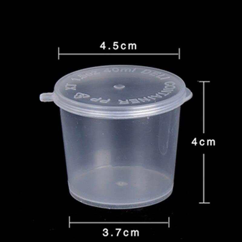 50 PcsSet 40ml Sauce Cup Transparent Plastic Disposable Sugar
