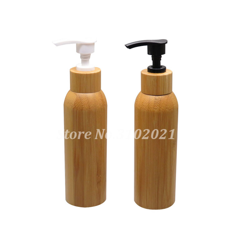 100pcs 120ml Bamboo Empty Cosmetic Cream Container DIY Body Care/Shampoo Lotion Bottle with Black/White Press Pump Cover Cap Lid 6 pcs 15g 30g 50g 1oz empty upscale refillable black cosmetics cream glass bottle container pot case jar with black lid