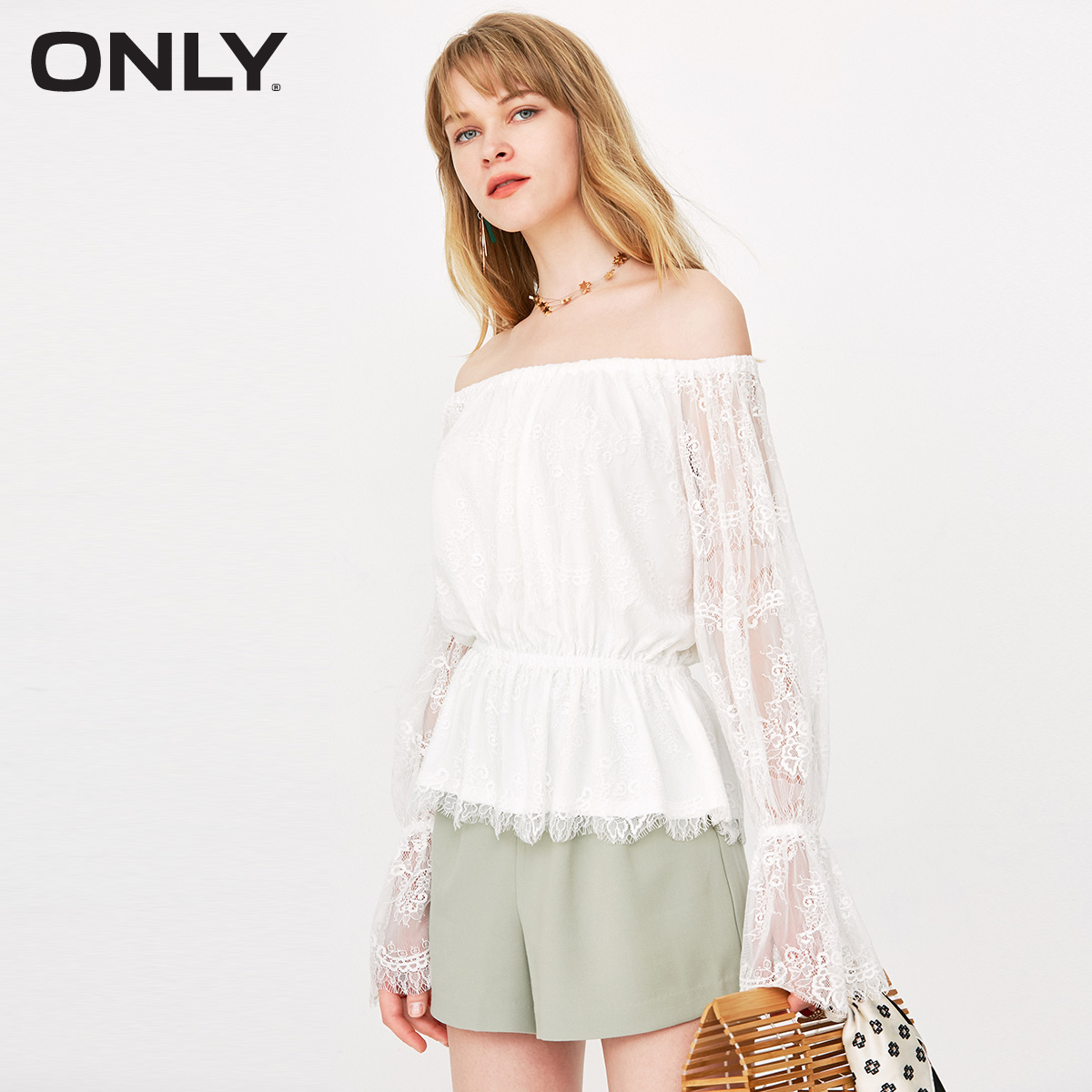 ONLY 2018 Autumn and Winter New Lace Shoulder Horn Sleeve T-shirt Female   118102532