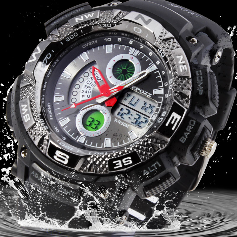 Epozz Männer Sport Militär Uhren Led Digital Mann Marke Uhr 5atm Dive Swim Kleid Fashion Outdoor Jungen Elektronische Armbanduhren Digitale Uhren Herrenuhren