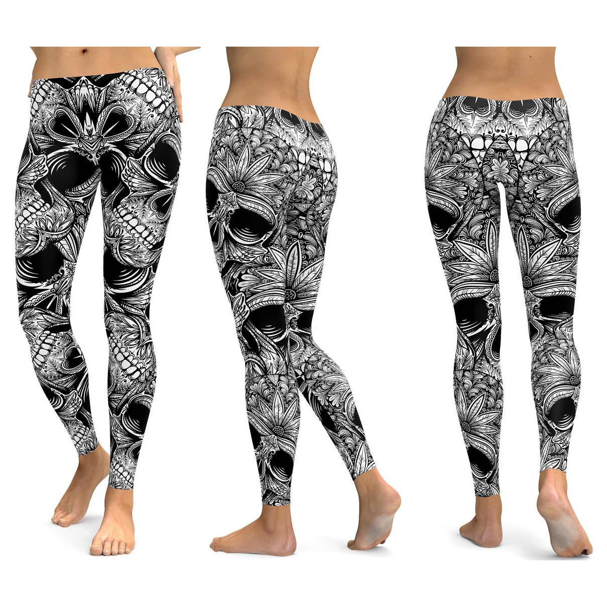 Skull Leggings Yoga Pants Women Sports Pants Fitness Running Sexy Push Up Gym Wear Elastic Slim Workout Leggings 22