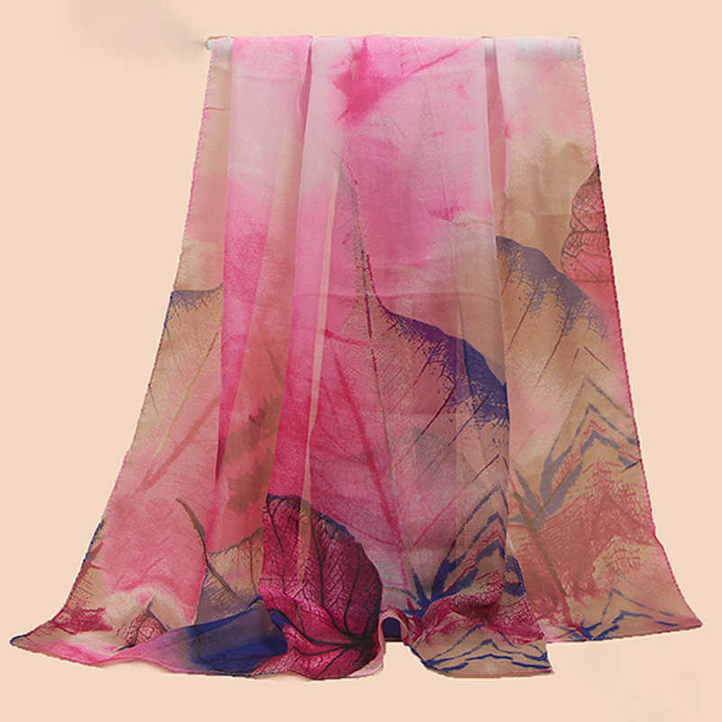 C 高品質スカーフレディースファッション 2018 新到着の女性のシフォンスカーフカエデの葉シルクスカーフ適度な柔らかさスーパー softne