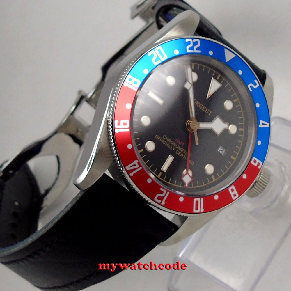 41mm corgeut black dial Pepsi red blue bezel Sapphire Glass GMT Automatic mens watch цена и фото
