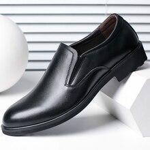 2017 Мужской Натуральная Кожа Мужчина Обувь Круглый Носок Бизнес Формальная Обувь Дышащий Человек Моды Обертывание Ног Черный Обуви Квартиры