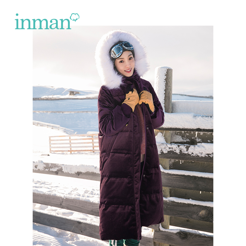 INMAN Winter New Arrival Female Hooded Fur Warm Collar Wind-proof Loose Style Women Long Lady   Down     Coat
