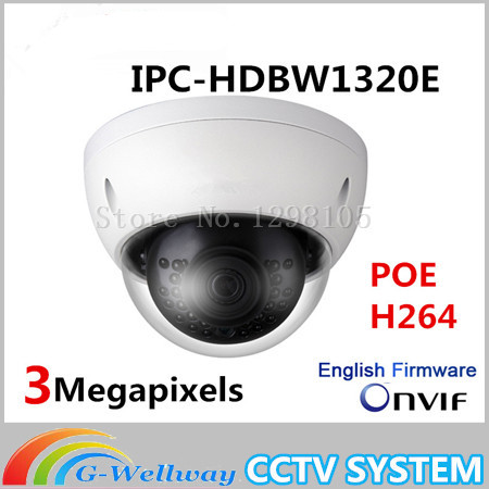 DH Original 3MP IPC-HDBW1320E dome IP Camera HD Network IR security cctv Dome IP CCTV Camera Support POE IPC-HDBW1320E multi language ds 2cd2735f is new high quality varifocal lense 3mp ir dome security network ip cameras w audio alarm support poe