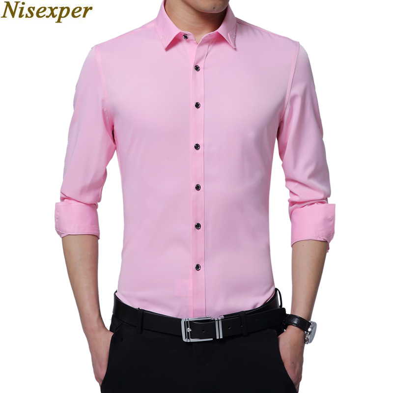 2018 New Arrival Man's Shirt Long Sleeve Autumn New Fashion Designer Good Quality Solid Shirt Slim Fit Business Shirts Moderate Price