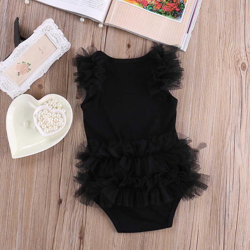 Милые дети новорожденный инфантил для маленьких девочек лук вышитые маленькое черное платье малышей Мода Письмо комбинезон