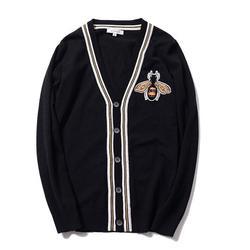 Neue luxus Mann Luxus Winter gentleman stickerei Bienen Stricken Casual Pullover Strickjacken Asiatischen Stecker Größe Hohe qualität Drake # E197