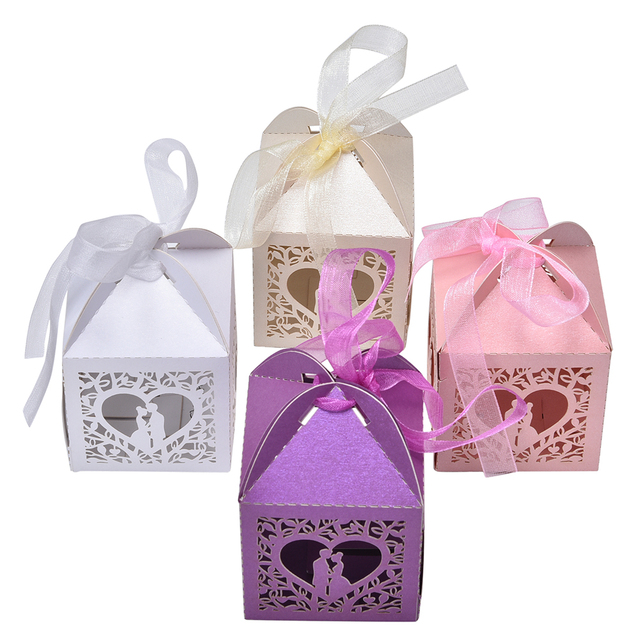 Heart Shape 10pcs Pretty Married Wedding Favor Box Gift Boxes Candy Party Paper Hollow Bags