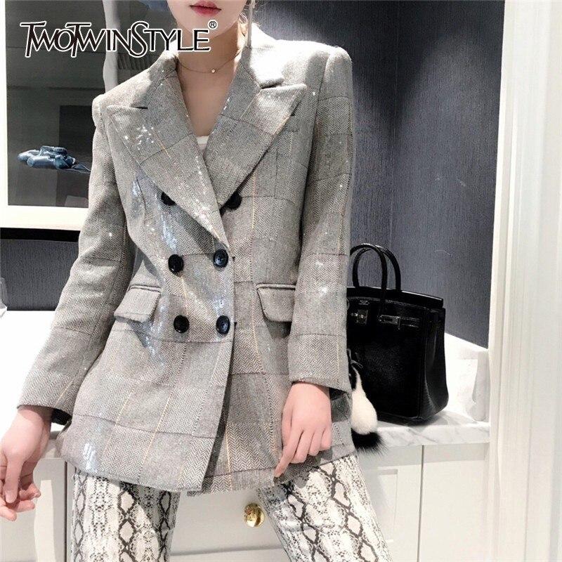 Deuxtwinstyle automne Plaid Blazer pour femmes col cranté manches longues Sequin Patchwork élégant manteau femme 2019 mode nouveau
