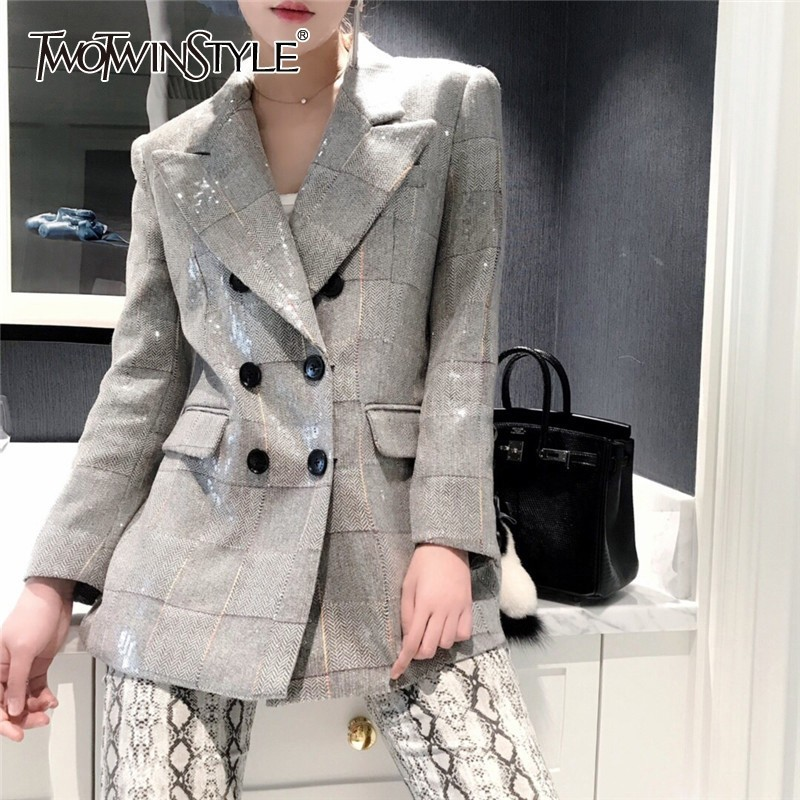TWOTWINSTYLE Autumn Plaid Blazer For Women Notched Collar Long Sleeve Sequin Patchwork Elegant Coat Female 2020 Fashion New