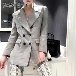 Twotwinstyle Herfst Plaid Blazer Voor Vrouwen Notched Kraag Lange Mouwen Sequin Patchwork Elegante Jas Vrouwelijke 2020 Mode Nieuwe