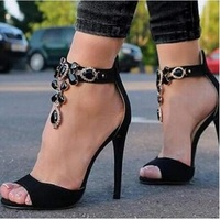Shinny Crystal Women Embellished Suede Leather Black High Heel Sandals Sexy Peep Toe Ankle Strap Rhinestones