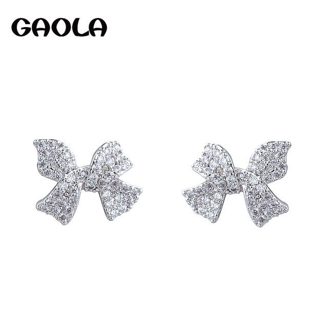 Gaola High Quality Cubic Zirconia Bowknot Stud Earrings For Women Brincos Jewelry Gle6843y