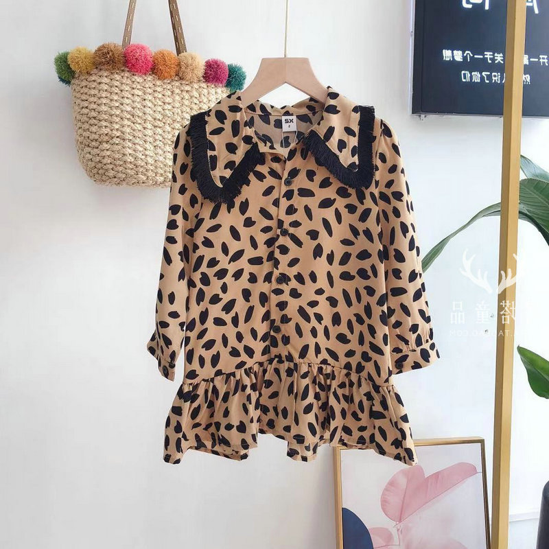 Pattern Leopard Print Baby Girl Dress For Kids Clothes Girls Long Sleeve Princess Dresses 2019 Spring Children Party Clothes