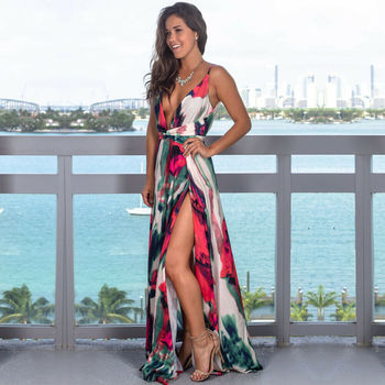 Женское длинное платье на бретельках с цветочным принтом, летнее платье макси в стиле бохо с v-образным вырезом, повседневный сарафан 3