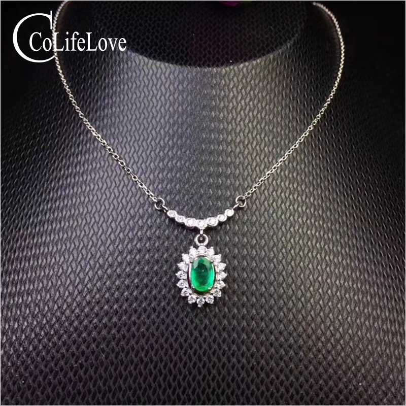 Classic emerald pendant woman birthday gift 4 mm 6 mm natural emerald pendant solid 925 silver